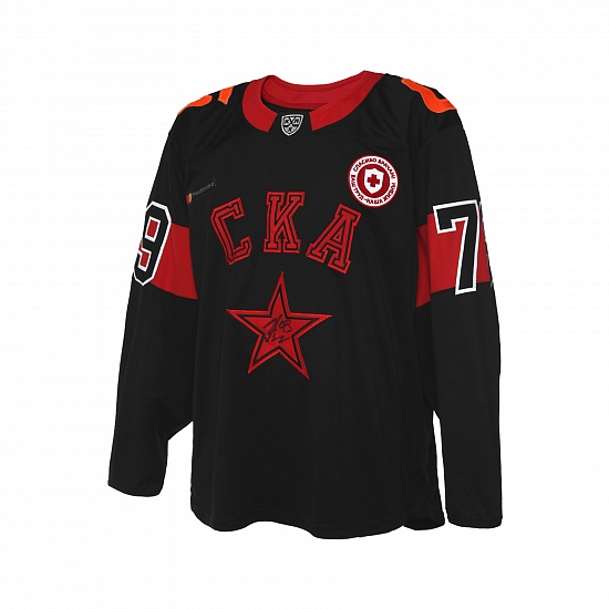 "SKA game worn black jersey ""Thanks to doctors"" 20/21 with autograph. D. Galenyuk, №79"