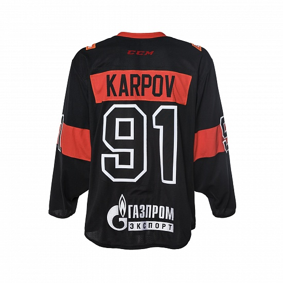 "Game worn jersey ""Russian classic 2019"" with autograph. M. Karpov, №91"
