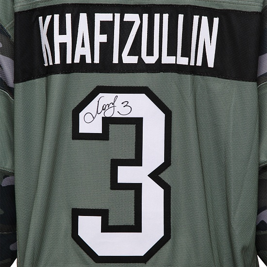 SKA Army game worn jersey with autograph. D. Khafizullin, №3